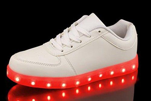 (Present:kleines Handtuch)JUNGLEST Versand aus DE - Retwin LED Sneaker Farbwechsel Unisex Dam Weiß