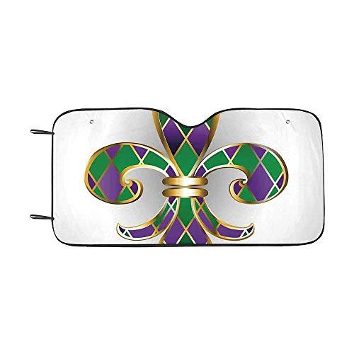 Fleur De Lis Decor Durable Car Sunshade,Gold Colored Lily Symbol with Diamond Shapes Royalty Theme Ancient Art for car,55