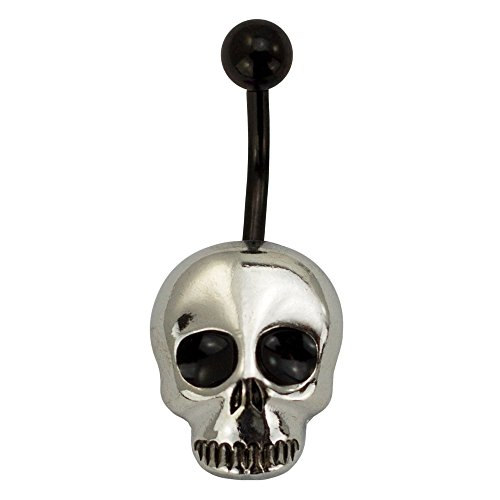 (emoji Stainless Steel 14G Skull Belly Button Ring Body Piercing Jewelry Women Fun Emoticon Navel Ring 7/16