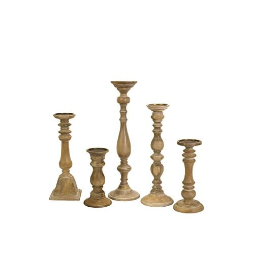IMAX Mason Natural Wash Wood Candleholders - Set of 5 Vintage Candle Stands - Home Decor Accessory