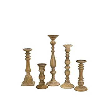 Image of Home and Kitchen IMAX Mason Natural Wash Wood Candleholders - Set of 5 Vintage Candle Stands - Home Decor Accessory
