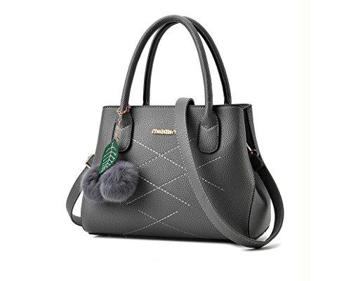 LEODIKA Europeo de Mujeres bolsa de nuevo estilo y estilo bolso americano, solo hombro de la taleguilla, húmedo señora Bag Negro Gray
