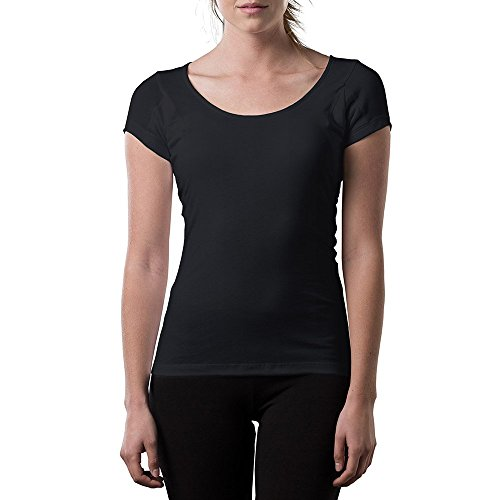 Sweatproof Undershirt for Women w/Underarm Sweat Pads (Original Fit,Scoop Neck) Black