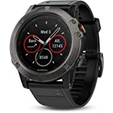 "Garmin Fenix 5X Multisport GPS Watch with Full-Color Map Guidance, 51mm Case Size, 1.2"" Display, Bluetooth/ANT+/Wi-Fi Connectivity, iPhone/Android Compatibile, Slate Gray/Black Band (010-01733-00)"