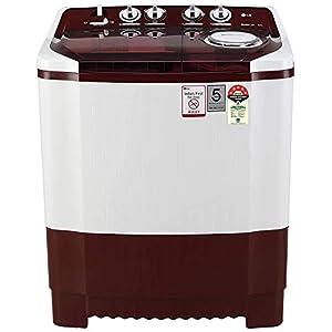 LG 8 Kg 5 Star Semi-Automatic Top Loading Washing Machine (P8035SRMZ, Burgundy, Collar Scrubber)