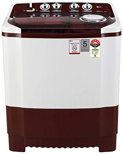 LG 8 Kg 5 Star Semi-Automatic Top Loading Washing Machine (P8035SRMZ, Burgundy, Collar Scrubber) 2021 June Semi-automatic washing Machine: Economical, Low water and energy consumption, involves manual effort; Has both washing and drying functions Capacity 8 kg (wash): Suitable for large families and also have 6 kg capacity for spin tub Energy rating 5: Best in class efficiency