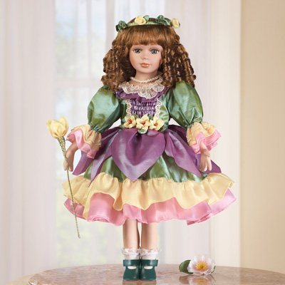 Blossom Porcelain Doll With Doll Stand and Gift Bag ( 3 item bundle )