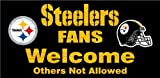 Pittsburgh Steelers Wood Sign - Fans Welcome 12''x6''