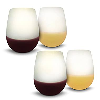 Cocktail Caddy Silicone Wine Glasses - Set of 4 Clear 12 oz Unbreakable Flexible Beer Cups