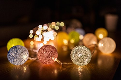 cotton ball string lights blue - 8