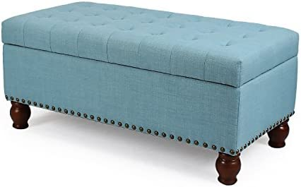 Adeco Faux Linen Fabric Retangular Tufted Lift Top Storage Ottoman Bench, Footstool with Solid Wood Legs, Nailhead Trim, Princess Blue