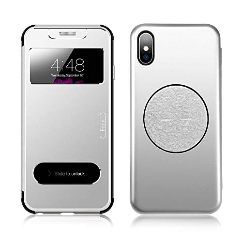 OATSBASF for iPhone X Flip Case,Ultra Thin Metal Flip Case with S-View Window/Flip Cover/PC Bumper/Three-Layer 360 Protection [Support Wireless Charging] for iPhone X - Phone Wireless Covers