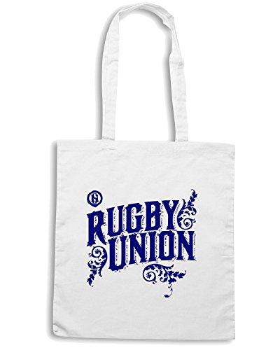 T-Shirtshock - Bolsa para la compra TRUG0072 ruggershirts rugby union logo Blanco