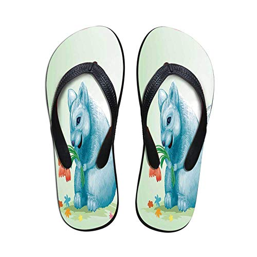 - Animal Custom Flip Flops,Dear Blue Mouse with Tulip Bouquet Caricature Hamster Chinchilla Mascot Rodent Toy for Beach & Swimming Pool,US Size 10