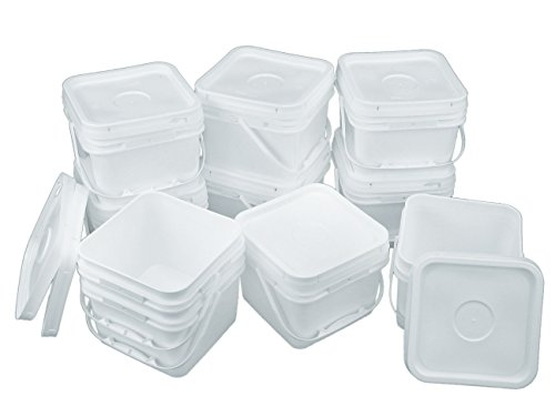 Square 68 mil Bucket Kit, Ten 2-Gallon Buckets with White Snap-on Lids]()