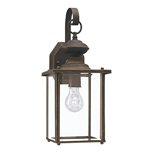 Sea Gull Lighting 8458-71 Jamestowne One-Light Outdoor Wall Lantern with Clear Beveled Glass Panels, Antique Bronze Finish