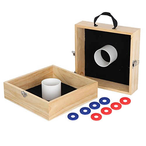 Smartxchoices 15'' Wood Washer Toss Game Set Outdoor Portable Backyard Classic Games with Carrying Box for Lawn,Beach,Parties, Camping, Tailgating and More (Lawn Games Washers)