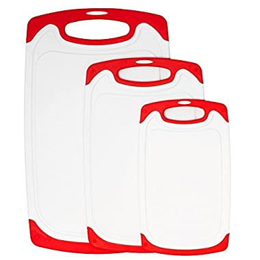 Sharpro 3-Piece Dishwasher Safe Plastic Cutting Board Set with Non-Slip Feet and Drip Juice Groove, (Bright Red)