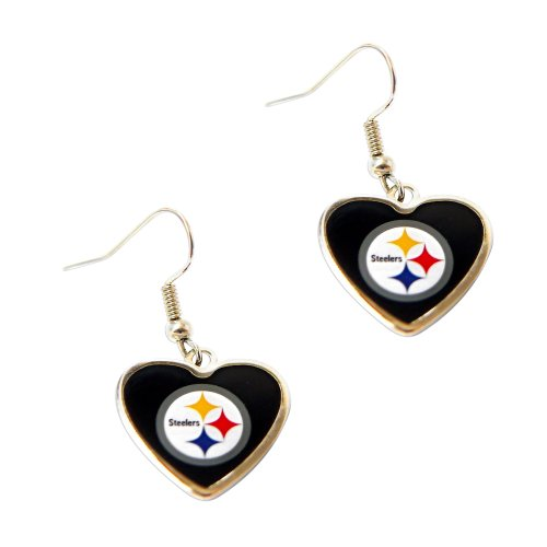 Pittsburgh Steelers NFL Sports Team Non-Swirl Heart Shape Dangle Earring Charm Jewelry Pendant