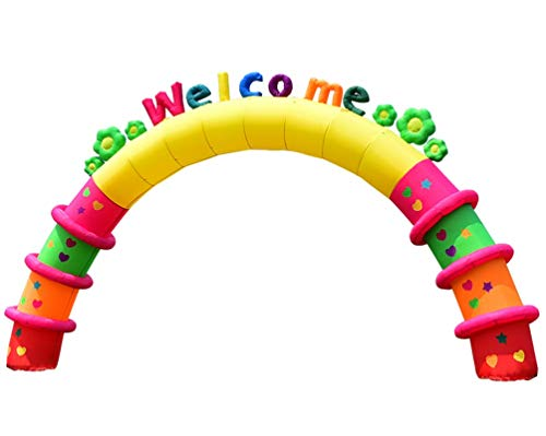 (KUNHEWUHUA 8M/ 26ft Inflatable Arch Kindergarten Welcome Arch Colorful Arch Event Celebration Birthday Party 550W Blower)