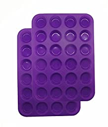 2Packs Silicone Cupcake Baking Pan, 24Cups Mini Muffin & Quiche Makers by Suntake(Purple)