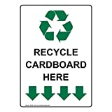 ComplianceSigns Vertical Aluminum Recycle Cardboard Here Sign, 14 x 10 in. with English Text and Symbol, White