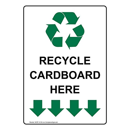 ComplianceSigns Vertical Aluminum Recycle Cardboard Here Sign, 14 x 10 in. with English Text and Symbol, White by ComplianceSigns