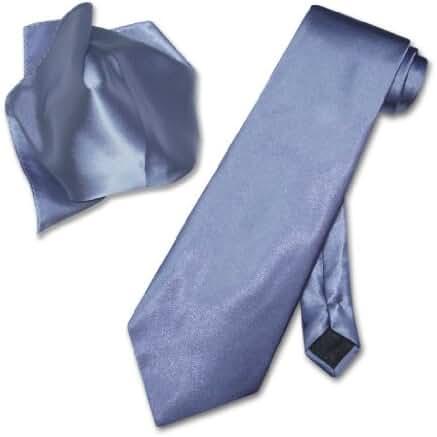 Antonio Ricci Solid FRENCH BLUE Color NeckTie & Handkerchief Men's Neck Tie Set