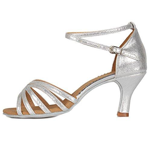 HIPPOSEUS Mujer Latino Zapatos de salón de Baile, Puntas Abiertas, Modelo MF1810-6 Talón 7cm Plata