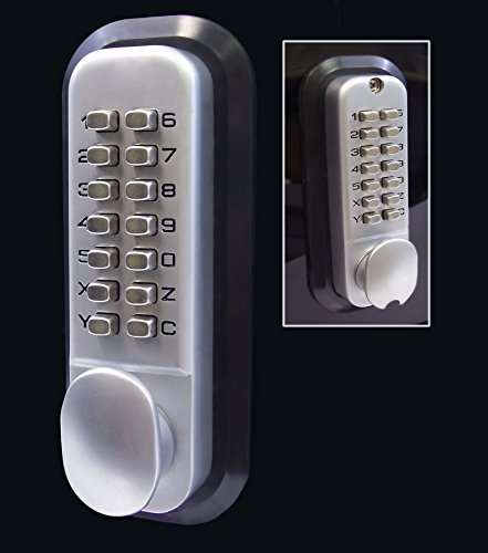All-Weather Double Keypad Mechanical Keyless Door Lock (Satin Chrome) by Code-a-Key by Code-a-Key