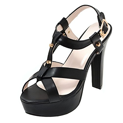 Peep Strap Platform Womens Heeled High Dress Sandals Studded Buckled Shoes Sexy Toe Aisun Black Cutout Ankle gCqwHUz