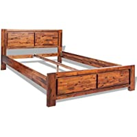 vidaXL Bed Frame Solid Acacia Wood Queen Size Wooden Brown Bedroom Furniture