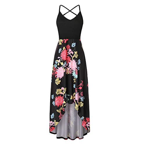 Londony❀♪ Women's Summer Striped Print Maxi Dress Contrast Sleeveless Tank Top Floral Print Long Maxi Dresses