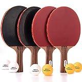 Merytes Set of 4 Premium Table Tennis Rackets and Pingpong Paddles with 6 Pingpong Balls and Bag