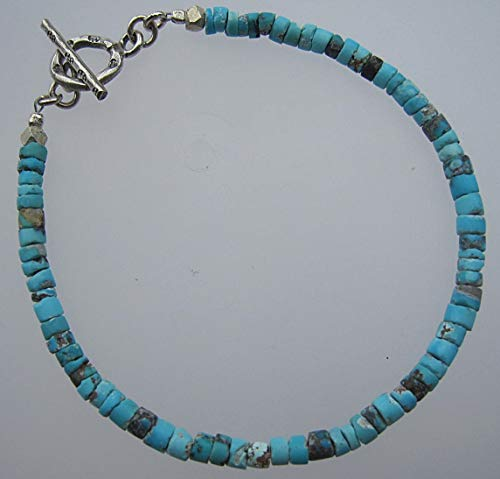 Tribe Silver 3mm (Afghan Turquoise seed beads Bracelet,Size 3 mm, Karen Hill Tribe Silver Clasp,Custom size 6.5,7,7.5,8,8.5 inches)