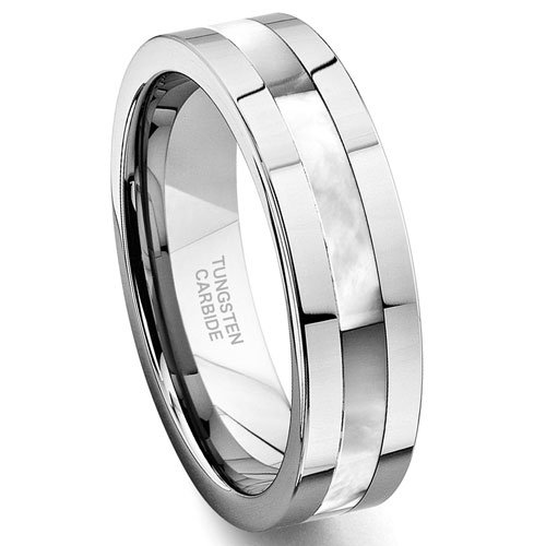 (Titanium Kay Tungsten Carbide Mother of Pearl Inlay Wedding Band Ring Sz 10.0)