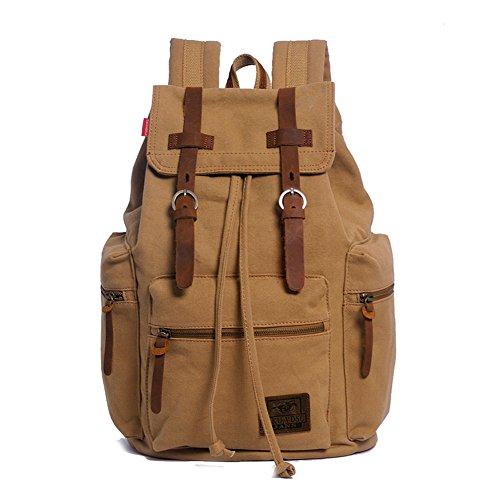 Vintage Canvas Backpack Laptop for Men Casual Bookbag for College (Khaki) - 2