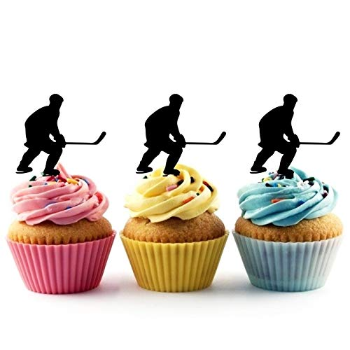 TA0859 Ice Hockey Player Silhouette Party Wedding Birthday Acrylic Cupcake Toppers Decor 10 pcs ()