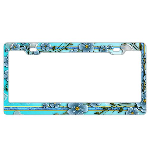 FunnyLpopoiamef Cute Blue Flowers License Plate Frame For Women/girl,Car Licenses Plate Covers Waterproof License Tag Stainless Steel Metal Frame