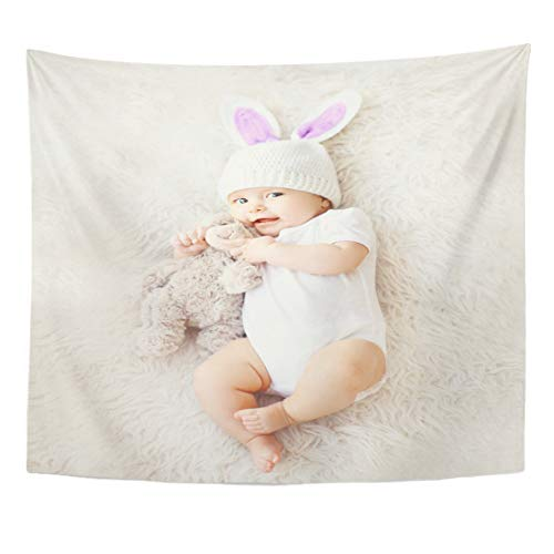 Emvency Tapestry White Easter of Sweet Cute Baby in Knitted Hat with Rabbit Ears and Teddy Bear Lying on The Top View Home Decor Wall Hanging for Living Room Bedroom Dorm 60x80 Inches