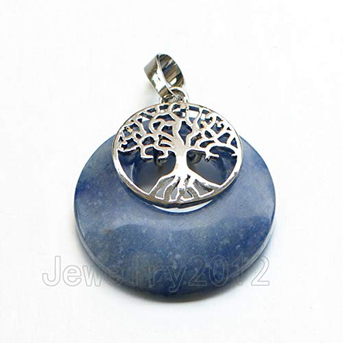 FidgetGear New Tree of Life Gemstone Healing Chakra Natural Charm Round Pendant Beads 29 kyanite 10pcs