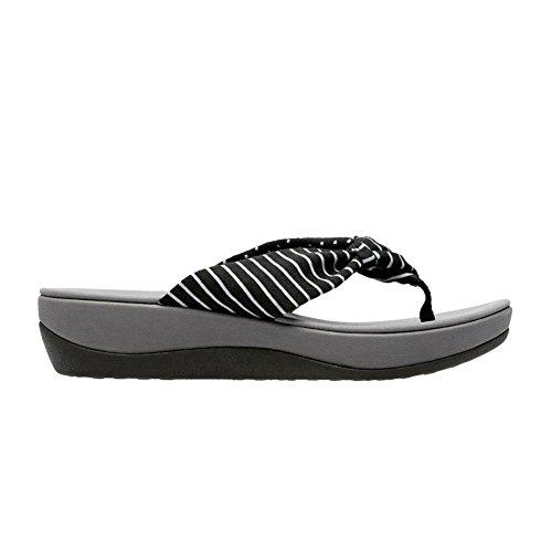 (CLARKS Womens Arla Glison Thong Sandal, Black Print, 7 B(M) US )