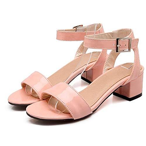 Pink QOIQNLSN Chunky Negro Verde Rosa Mujer De PU Zapatos Confort Poliuretano Talón Primavera Tacones TTFHxwq