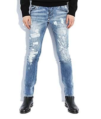 Wiberlux Philipp Plein Seventy Eight Metal Detail Destroyed Denim Jeans 31 Light Blue