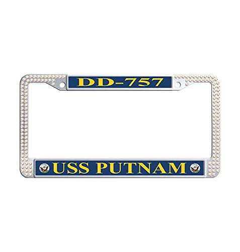Hensonata Glitter Rhinestones USS Putnam DD-757 License Cover Holder for Car, Cool Bling Sparkle Rhinestone Crystal Waterproof Stainless Steel License Plate Covers with Screws & -