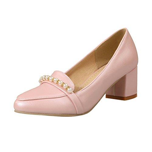 MissSaSa Damen Chunky heel Pointed Toe Pumps mit künstlich Perlen Pink