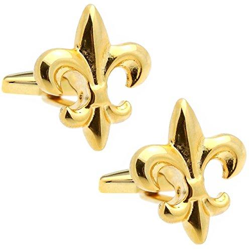 (Gold fleur-de-lis lily emblem cufflinks)