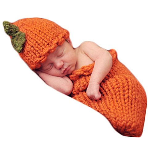 (Baby Photography Props Pumpkin Sleeping Bag Newborn Photo Shoot Outfits Crochet Costume Knitted Halloween Infant Clothes Orange)