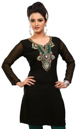 Diseñador larga India Túnic Top Partido Kurti Mujer Blusa Del Vestido Ropa india Negro 1