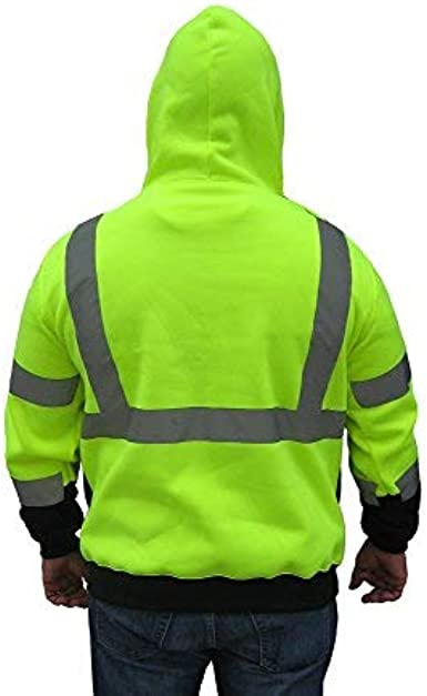 3C Products SAJ6700, ANSIISEA Class 3, Men's Safety Fleece Hoodie Jacket, Reflective, Pockets, Neon Green wBlack Bottom